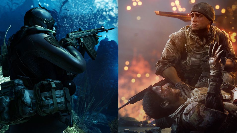 Montasje av Call of Duty: Ghosts og Battlefield 4.