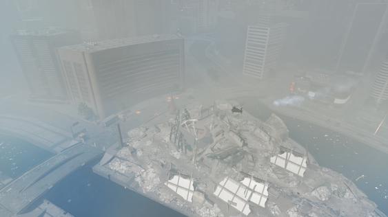 Tåkelagt Siege of Shanghai etter at skyskraperen har falt.