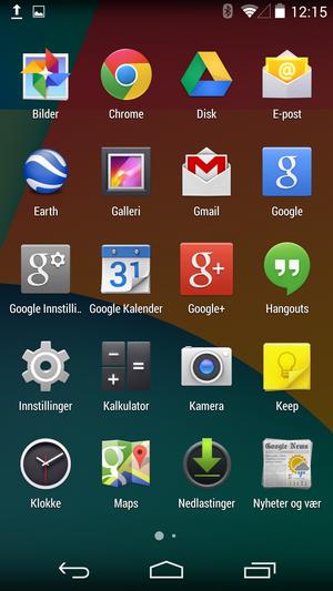 ... og slik ser appmenyen ut.