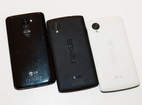 De nye ryktene hevder at Nexus 6 vil ha mye til felles med LGs kommende toppmodell, G3. Akkurat slik dagens Nexus 5 har mye til felles med G2 (til venstre i bildet).