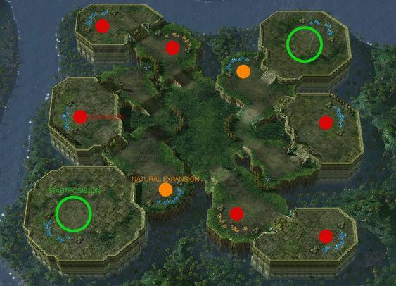 Her er alle basemulighetene på et StarCraft II-kart.