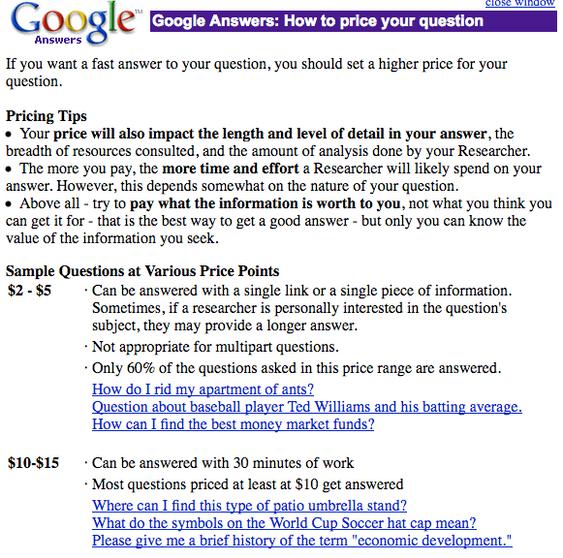 Dette er Googles tips for de som ville prøve deres Answer-tjeneste.