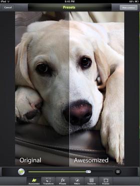 """En av de kuleste funksjonene i appen, er muligen til å """"awesomize"""" et bilde."""