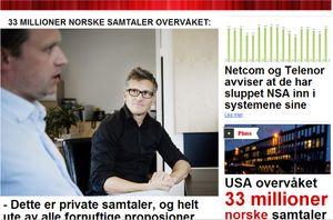 Dagbladet bringer i dag avsløringen om at NSA skal ha overvåket over 33 millioner norske telefonsamtaler. Antallet tilsvarer omtrent hver tiende samtale som ble foretatt i landet i den aktuelle perioden.