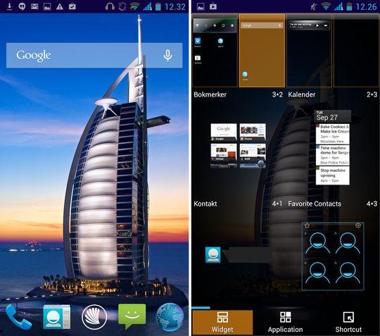 Startskjermen kan tilpasses ved å holde en finger inne på bakgrunnen av skjermen. .