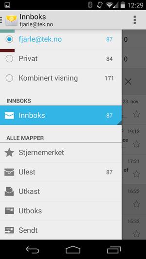 Den nye e-postklienten i Android 4.4 har samme design som GMail-klienten.