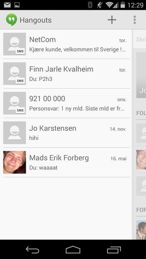 Hangouts samler lynmeldinger, meldinger til kretser på Google+, og SMS i en og samme app.
