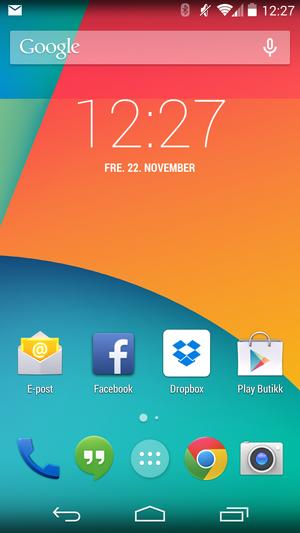 Android 4.4 har fått et hakk friskere design enn tidligere utgaver.