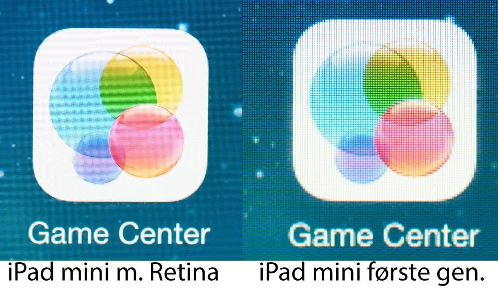 Det er stor forskjell på skjermene i første og andre generasjon iPad mini. Se full størrelse for best inntrykk av forskjellene.