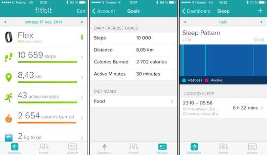 Fitbit Flex logger skritt, tilbakelagt distanse, hvor lenge du har vært aktiv, søvn, kaloriforbruk og kaloriinntak. .