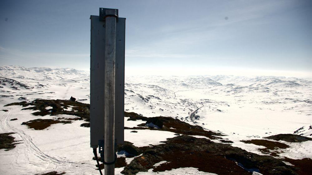 Den midlertidige basestasjonen skuer utover fjellandskapet der Skarverennet skal avvikles.