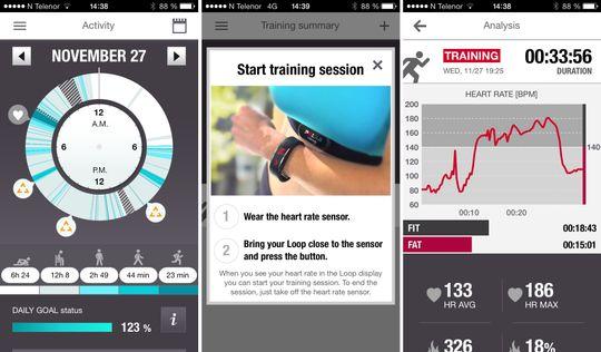 Polar Loop-appen viser deg aktivitetsnivået ditt i et 24-timers hjul.