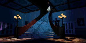Den ikoniske trappen i foajén.