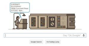 Google hyllet Hopper med denne logoen på mandag.