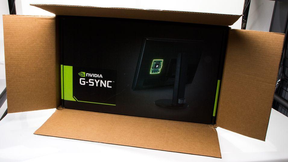 De første skjermene med Nvidias G-Sync-brikke ombord er på vei til Norge. Dette var esken vårt prototyp-eksemplar kom i.