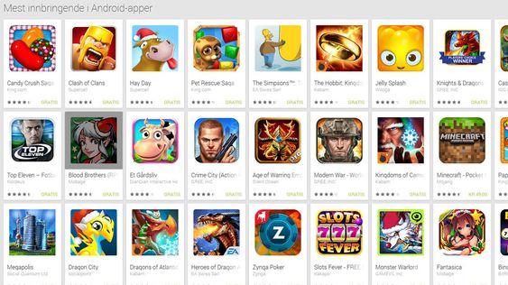 """Alle de mest innbringende spillene er gratis å laste ned, takket være """"kjøp i app""""."""