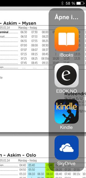 PDF-er kan åpnes i eller lagres til andre apper du har installert på iPad-en.