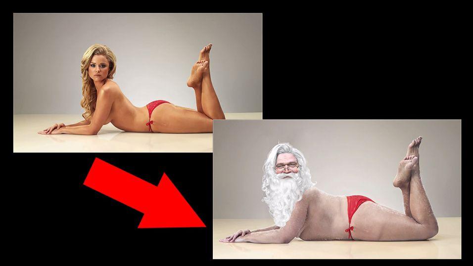 Se modellen bli photoshoppet om til  Julenissen