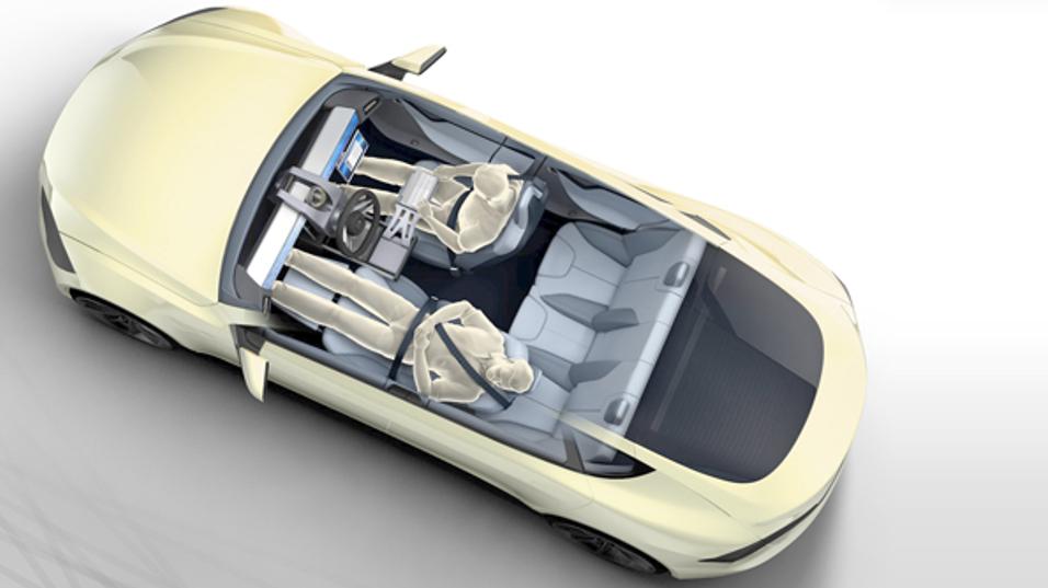 Konseptbilde av en selvkjørende bil.
