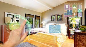 """Et eksempel på en app hvor man kan """"prøveinnrede"""" et rom, og kjøpe møbler, lamper og annet utstyr direkte fra Meta-brillene."""
