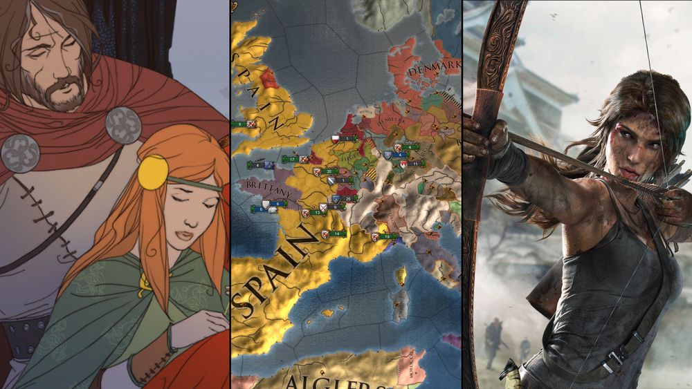 The Banner Saga (t.v), Europa Universalis IV: Conquest of Paradise og Tomb Raider.