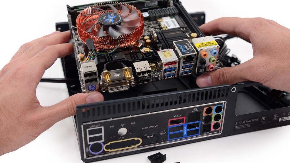 Dette er innsiden av spillmaskinen Steam Machine