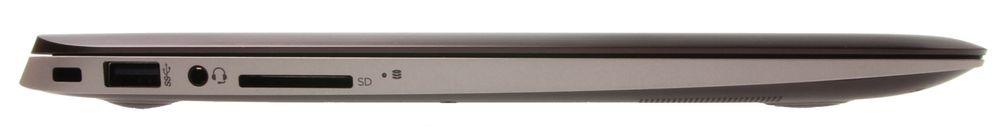 På venstresiden kan du sikre Spectre med en lås, koble til tilbehør via USB 3.0-porten, og kjøre inn minnekort og hodetelefoner i deres respektive innganger.