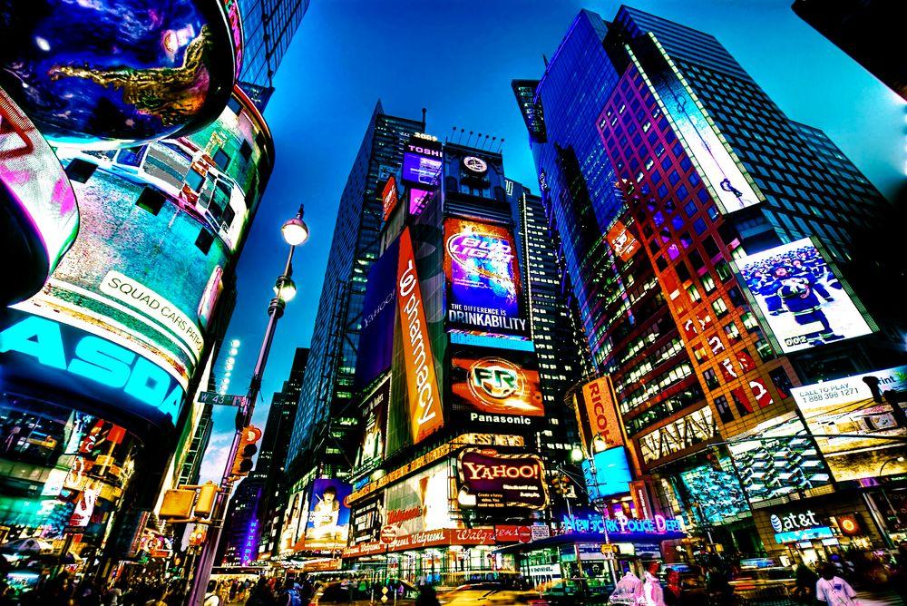 I New York er reklamen relativt pågående.