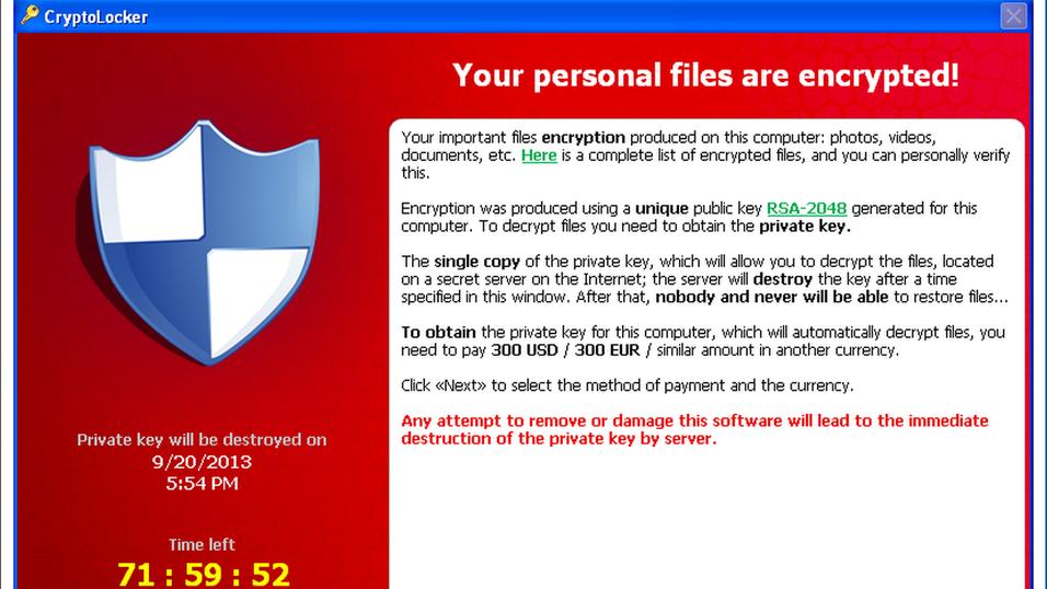 Dette er skjermen som møter CryptoLocker-ofrene.