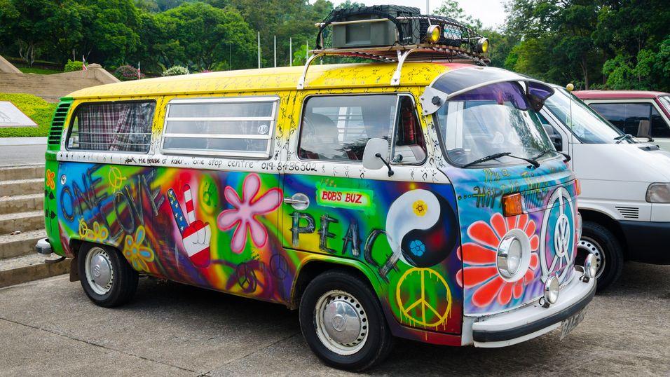 En 60-tallsinspirert folkevognbuss.