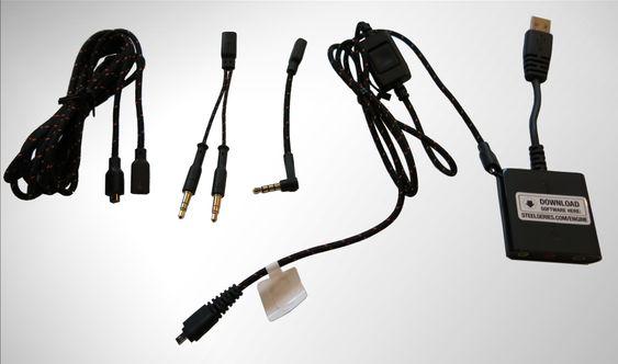 Forlengelseskabel, endestykker og USB-lydkort.