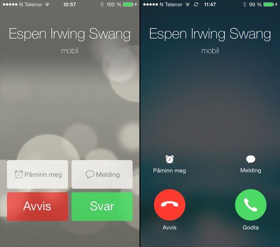 Det nye skjermbildet for innkommende samtale til høyre, iOS 7.0.4 til venstre.