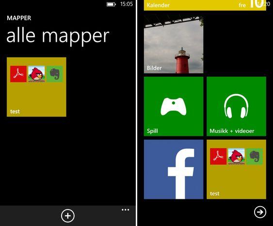Flere apper kan samles i mapper på startskjermen.