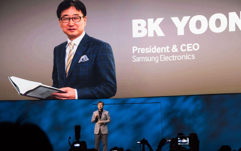 Samsungs toppsjef åpnet selskapets pressekonferanse.