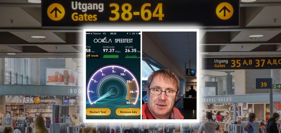 Her ser vi skjermbilde av dekningsdirektør Bjørn Amundsens test av 4G-nettet på Gardermoen. 97,35 Mbit/s på mobilen er nær det maksimale teknologien kan levere i dag.