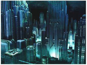 Den blåmørke byen er stadig ruvende.