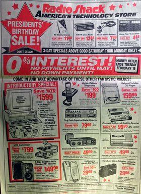 Her er Radio Shack-annonsen fra 1991.