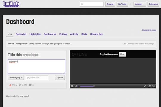 Dashbordet på Twitch.tv.