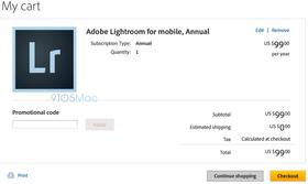 Skjermbilde fra glippen i Adobes nettbutikk.