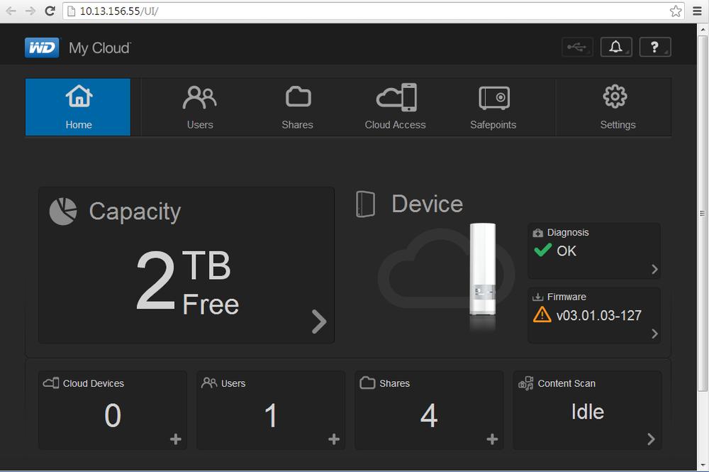 NAS-ens fastvare lot seg fornye med et par klikk, og kan settes til å se etter oppdateringer automatisk.
