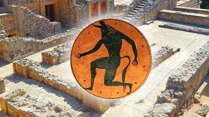 Her ser du den fryktinngytende Minotaurus, med ruinene på Knossos i bakgrunnen.