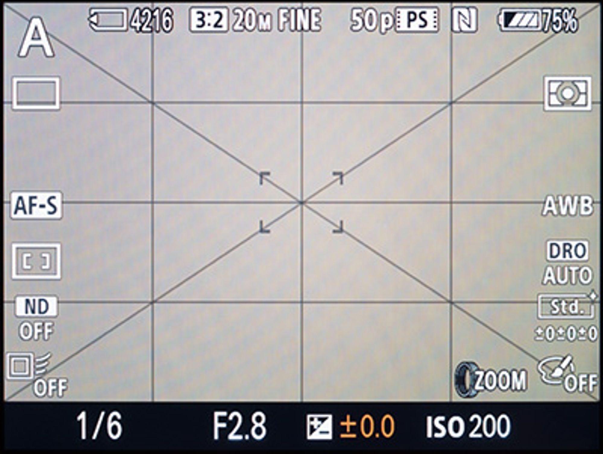 RX10 LCD-skjerm - hvor mye informasjon som vises i selve søkerbildet kan justeres.