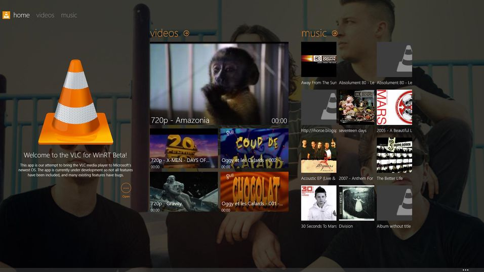 Startskjermen i nye VLC for Windows 8.
