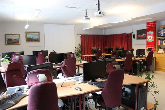 IKT-klasserommet på Nannestad videregående skole.