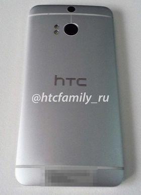 Tidligere har vi sett dette bildet som skal vise baksiden på HTC M8. Legg merke til at telefonen har to separate LED-lys ved siden av kameraet.