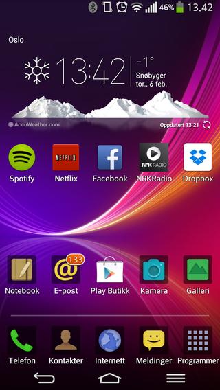 Slik ser den vanlige hjemmeskjermen på G Flex ut. Dette er et litt annet designtema enn det som pryder LG G2.