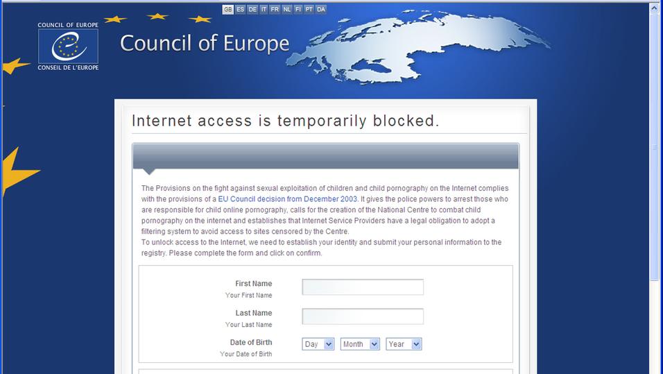 Dette er den første skjermen som infisiserte brukere ser.