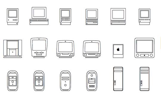 Her er et større utvalg av de forskjellige tegnene. Vi ser blant annet noen av de aller tidligste Mac-ene.