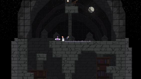 Det er mye som er grått og mørkt i Dustforce, selv om spillet forsåvidt ser pent ut.