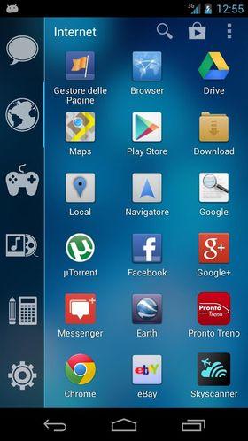 Slik kan appmenyen se ut med Smart Launcher installert.